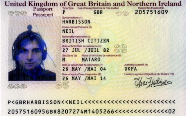 Neil Harbisson's UK passport, where he won the right to wear his cyborg antenna on his head.
