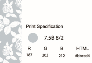 Showing Print Specifications using Munsell for a gray and white flower pattern