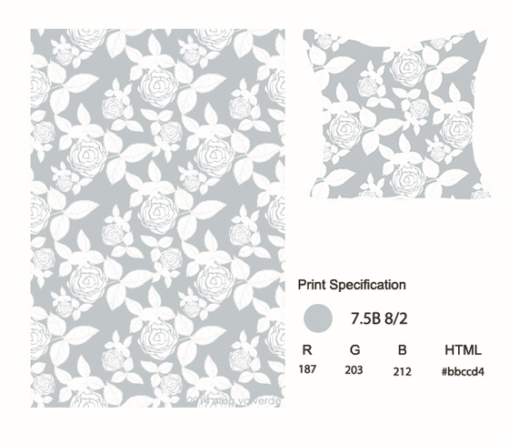 A color specification for a pillow with gray and white flower pattern