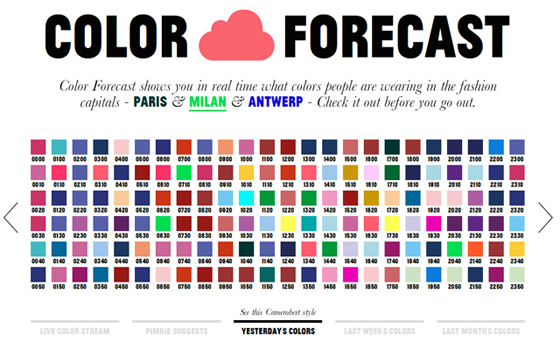 Color forecasts showing square swatches of trending colors
