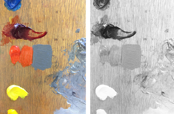 Side by side images of cadmium red light paint next to gray colors. Shown in color, then desaturated to see if values are about the same.
