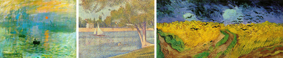 A triptych of paintings from Monet, Seurat and Van Gogh showing color in artwork