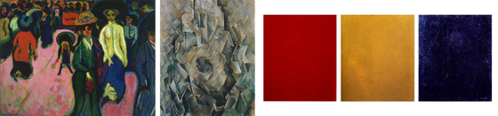 A triptych showing work by Ernst Ludwig Kirchner, Georges Braque, Alexander Rodchenko