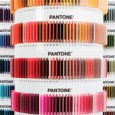 A close-up showing the Pantone plastic color chips in a carousel