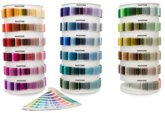 Three carousels of Pantone Plastic Color Chips