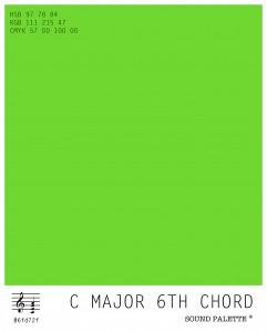 Neil Harbisson: Sound palette: C major 6th chord.