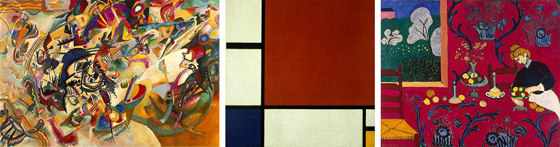 A triptych of paintings by Kandinsky, Mondrian and Matisse