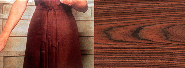 Two images side by side - a women in a brown dress and a close up of wood grain