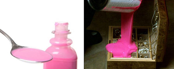 Two images side by side - bottle and spoon with pink liquid and pink poured into jewelry box