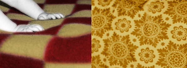Two images side by side - one of a childs hands on a yellow and red blanket and a yellow pattern