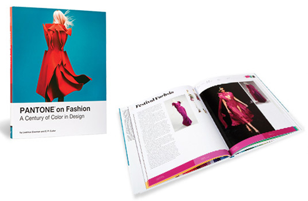 Photograph of the cover and an inside page of the Pantone on Fashion Book