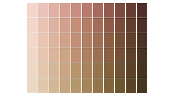 A grid of skin colors