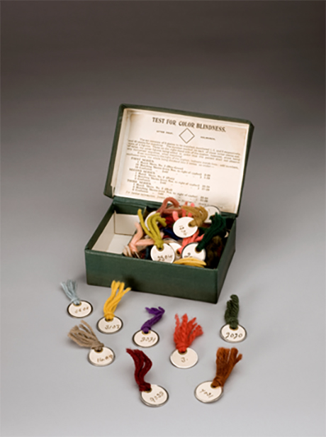 The Holmgren test for color blindness a box of wool in various colors with labels