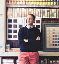 Portrait of colour expert Patrick Baty  in his studio