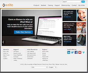 A screenshot of the X-Rite website which is undergoing a redesign