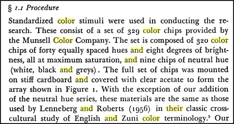 A quote from a book talking about the Munsell color system procedure