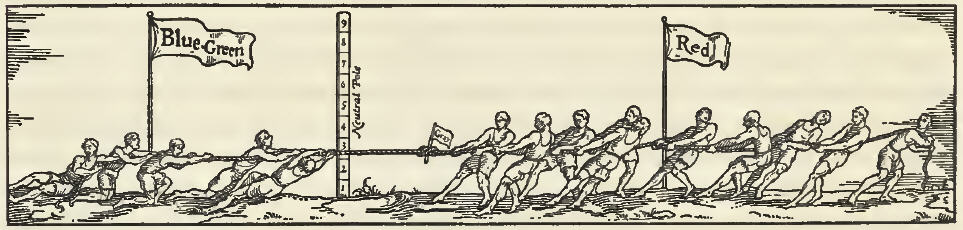Illustration of a tug of war between blue-green and red on either side of the Neutral Pole to describe color balance. From the 1921 book A Grammar of Color, in the chapter: A Practical Description of the Munsell Color System with Suggestions for its Use