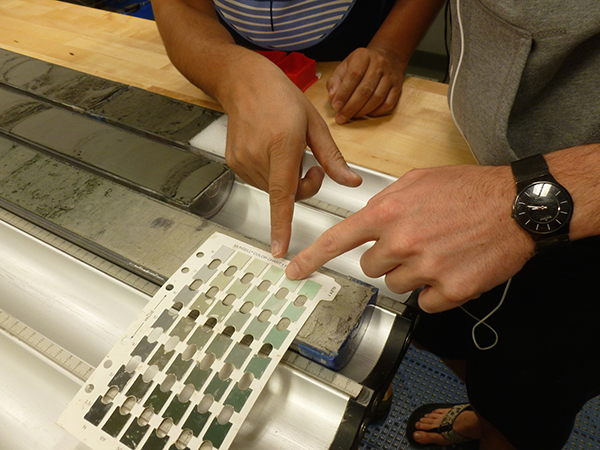 Two sedimentologists point to a mud core sample to determine color from a Munsell chart