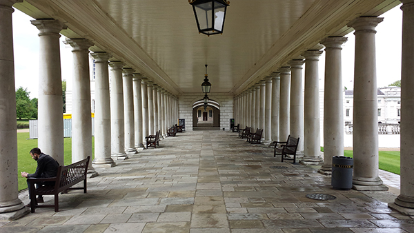 The Queen's House Colonnade showing colours for a restoration project