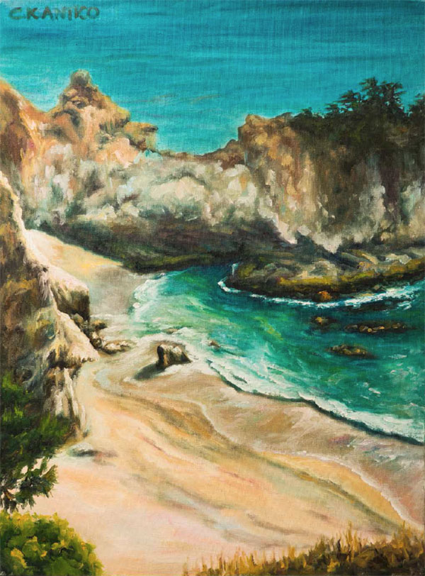A painting of a beach with beautiful green and blue water