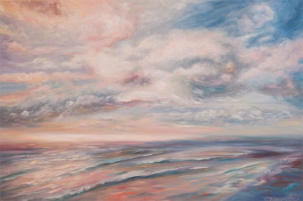 Water and sky in pinks, blues and whites: a painting by Concetta Antico
