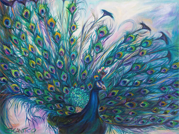 A painting of a bright and colorful peacock by Concetta Antico