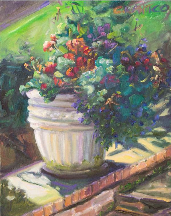 A painting by tetrachromat Concetta Antico featuring a white flower pot with beautiful purple and orange flowers