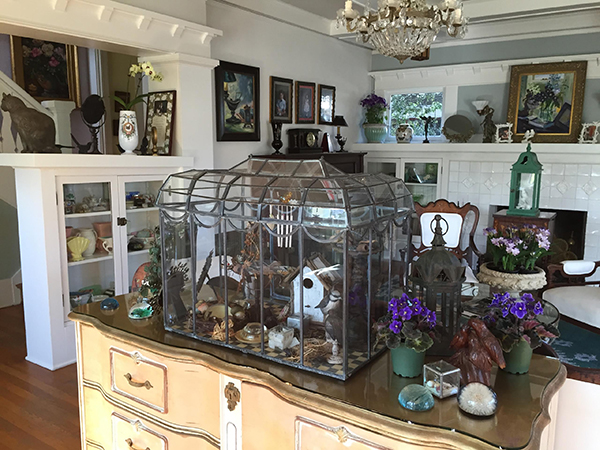 The interior of tetrachromat artist Concetta Antico with beautiful obects including a birdcage, flowers and soft colors