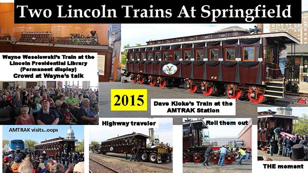 A photo collage of the re-enactment of the Lincoln funeral train car