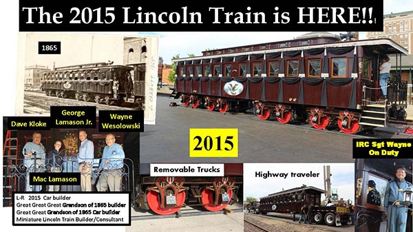 A photo collage of the Lincoln funeral train car re-enactment