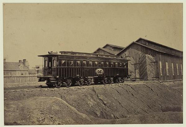 A photograph of Lincoln's funeral train car by Andrew J. Russell