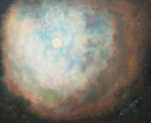 A painting of the moon showing many colors by tetrachromat artist Concetta Antico