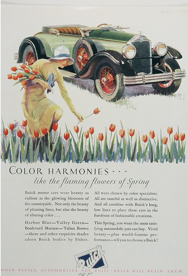 An advertisement showing color harmonies with a women in a see of flowers with a car in the background