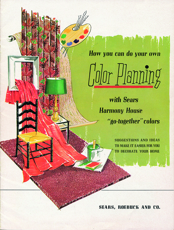 An excerpt from Sears catalog showing home goods in various colors for planning purposes