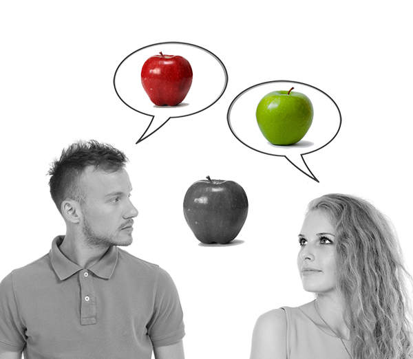 A man and a women looking at the same apple but one sees red and one see green