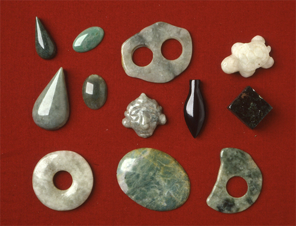 An assemblage of Jade from an excavation in Montague Valley