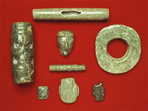 An assemblage of classic period Jade from an excavation