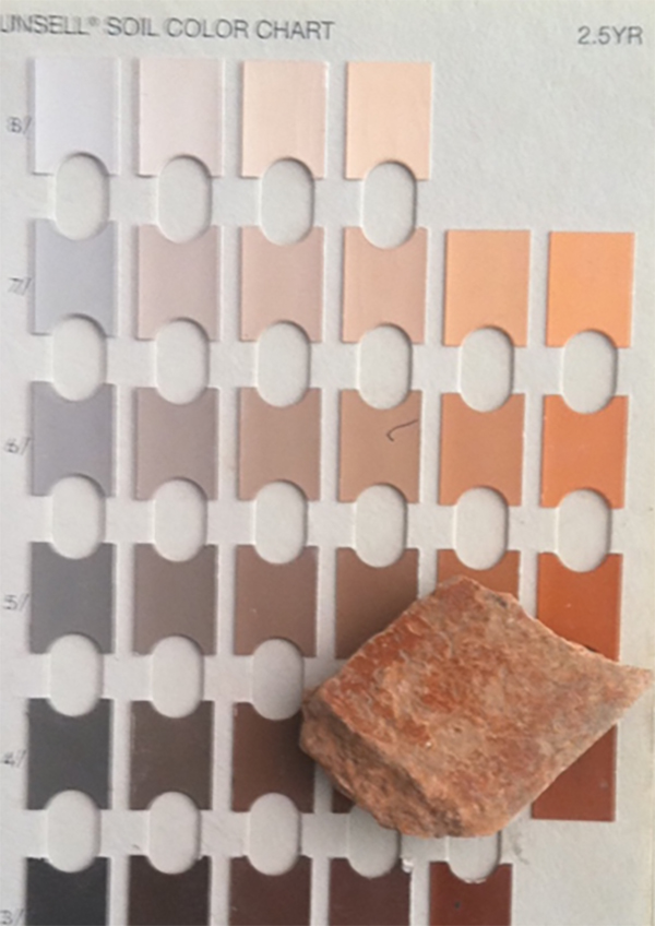 A red sherd with the munsell color chart from and excavation