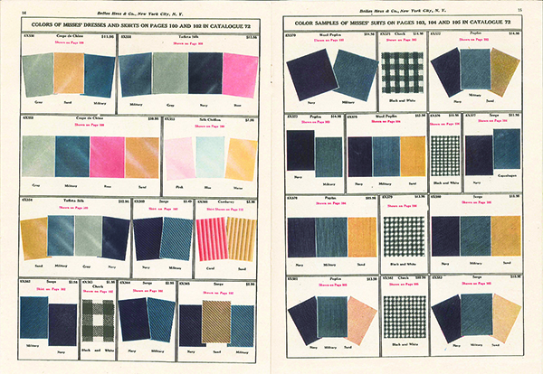 An excerpt from a magazine showing color swatch samples, wartime colors