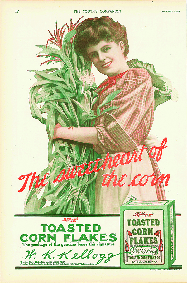 A advertisement for corn flakes showing greens, pinks and yellows