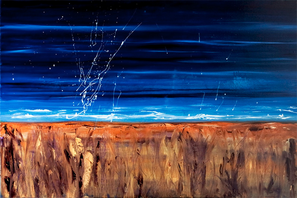 A painting by Leanne Venier entitled Immortal Evanescence, blue sky and ocean and sand