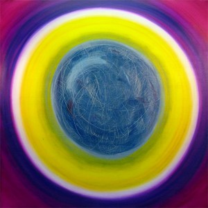 The Awakening, a painting by Leanne Venier with purple, yellow and blue circles