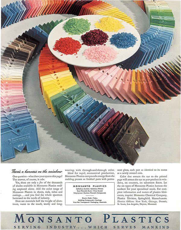 An excerpt from a magazine showing Monsanto plastics in an array of colors