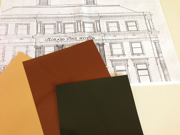 A drawing of the old Colorado State Museum along with three Munsell custom color matching sheets