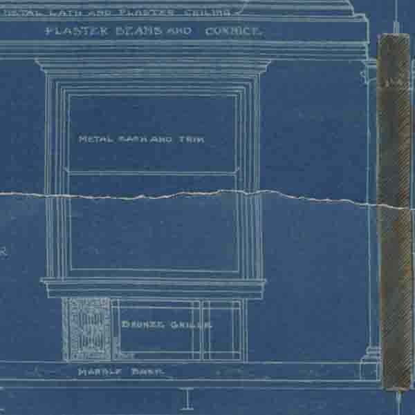 A snippet from the blueprint drawings of the old Colorado Museum windows
