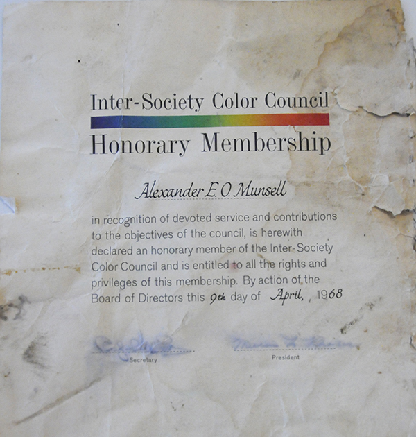 A certificate from the Inter-Society Color Council honoring Alexander E.O. Munsell