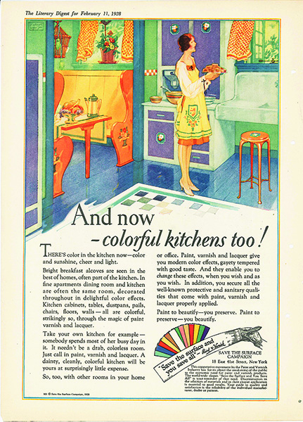 An advertisement showing a women in a colorfully painted kitchen
