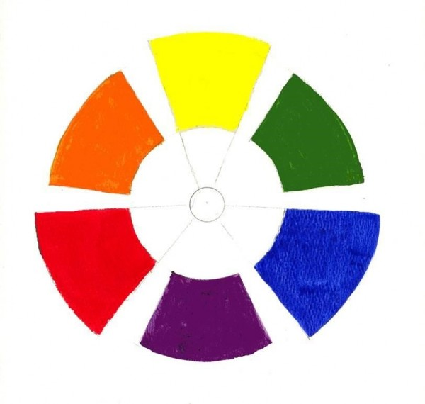 A 6 hue color wheel with red, orange, yellow, green, blue and purple