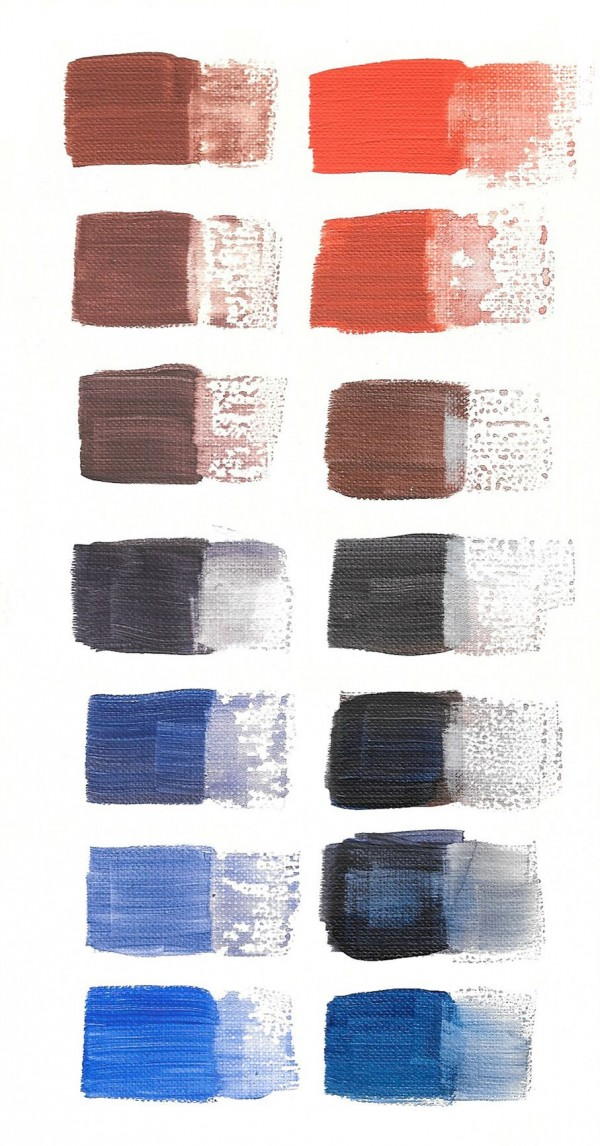 Blue and orange chromatic color scales painted on paper