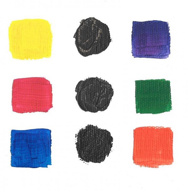 Complimentary Colors Painted On Paper With Their Mix In The Center